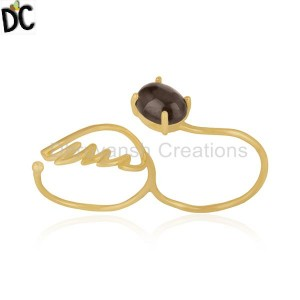 Smoky Quartz Gemstone Gold Plated Silver Angel Wing Double Finger Ring Jewelry