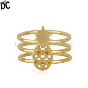 Handmade Gold Plated Plain Silver Pineapple Designe Band Ring Jewelry