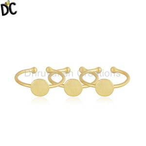 18k Yellow Gold Plated 925 Sterling Silver Girls 3 Rings Set Jewelry