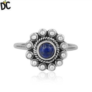 Natural Lapis Lazuli Gemstone Womens Oxidized 925 Silver Ring Jewelry