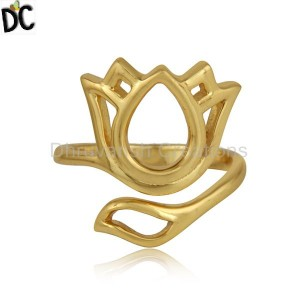 Yellow Gold Plated Silver Designer Beautiful Lotus Ring Jewelry