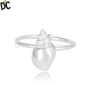 New 92.5 Fine Sterling Silver Womens Conch Design Ring Jewelry