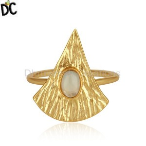 Texture Yellow Gold Plated Silver Ethiopian Opal Gemstone Rings