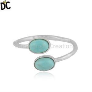 925 Sterling Fine Silver Arizona Turquoise Gemstone Ring Jewelry