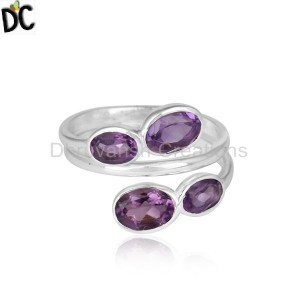 925 Sterling Fine Silver Natural Amethyst Gemstone Rings Jewelry