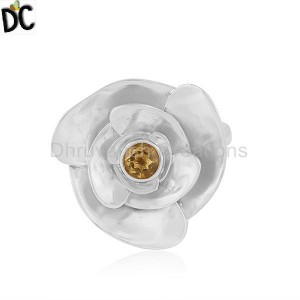 Indian Rose Flower Design Fine Silver Citrine Gemstone Ring Jewelry