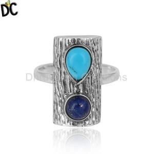 Lapis Turquoise Gemstone Oxidized 925 Sterling Silver Vintage Rings