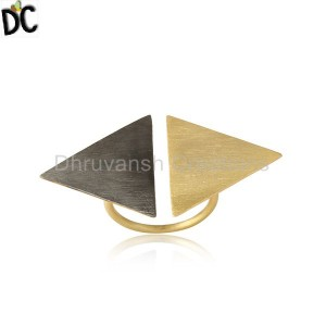 Two Tone Plated Designer Plain Silver Handmade Womens Rings