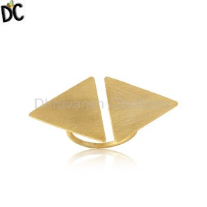 Tow Triangle Shape 18k Yellow Gold Plated Designer Silver Rings