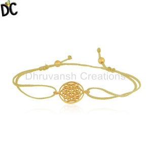 Yellow Gold Plated 925 Silver Adjustable Macrame Bracelet Suppliers
