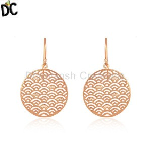 Rose Gold Plated Sterling Plain 925 Silver Designer Earrings Supplier