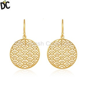 Yellow Gold Plated Sterling Plain 925 Silver Designer Girls Earrings