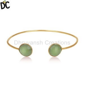 18K Gold Plated Silver Designer Cuff Bracelet Jewelry Manufacturers From India