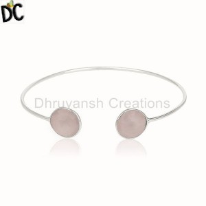Rose Chalcedony Natural Gemstone 925 Silver Cuff Bracelets Supplier