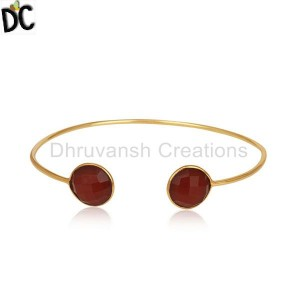 Designer Gold Plated Silver Cuff Bracelet Red Onyx Gemstone Jewelry