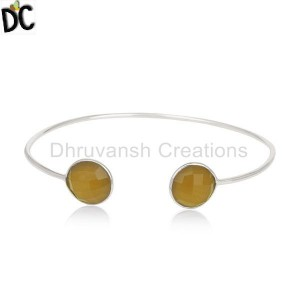 Yellow Chalcedony Gemstone 925 Silver Cuff Bracelets Supplier