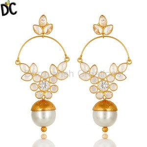 14K Yellow Gold Plated Sterling Silver Pearl And Cubic Zirconia Designer Earring