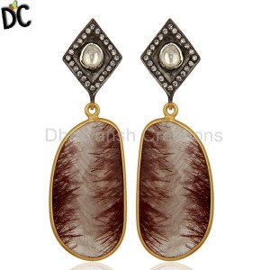 Gold Plated Rutile Gemstone 925 Silver CZ Earrings Manufacturer
