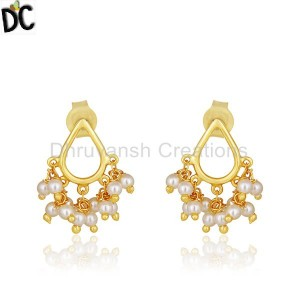 Natural Pearl 14k Gold Plated 925 Silver Drop Earrings Manufacturer India