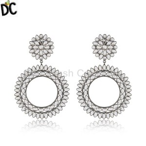 Black Rhodium Plated Silver Round Disc Design CZ Dangle Earrings