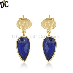 18k Gold Plated 925 Silver Lapis Lazuli Gemstone Girls Earring Jewelry