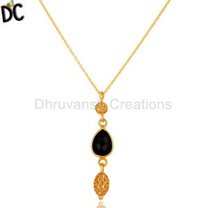 Gold Plated Sterling Silver Black Onyx Gemstone Pendant Wholesaler