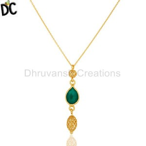 Gold Plated Sterling Silver Green Onyx Gemstone Pendant Wholesaler