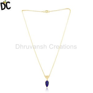 Yellow Gold Plated Silver Natural Lapis Gemstone Chain Pendant Jewelry