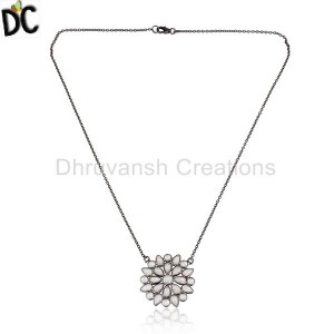 Black Rhodium Plated Silver Flower Design CZ Chain Pendant Jewelry