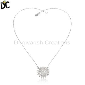 Flower Design Fine Silver White Zircon Gemstone Chain Pendants