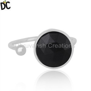 Sterling Silver Designer Black Onyx Gemstone Ring Jewelry For Girls