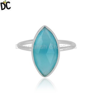 Sterling Fine Silver Marquise Shape Aqua Chalcedony Gemstone Rings