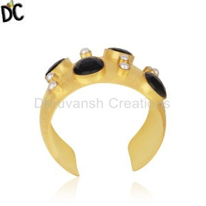 Pearl and Black Onyx Gemstone Gold Plated Brass Cuff Bangle Wholesale