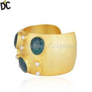 Gold Plated Brass Fashion Pearl and Green Onyx Gemstone Cuff Bangle