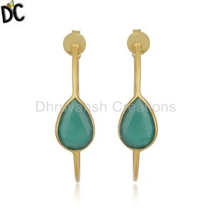 Green Onyx Gemstone Brass Gold Plated Fashion Hoop Earring Supplier