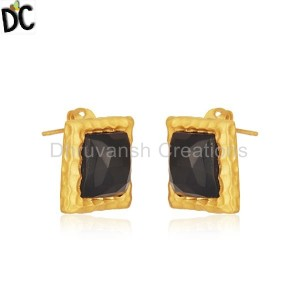 Square Black Onyx Gemstone Gold Plated Brass Fashion Stud Earrings