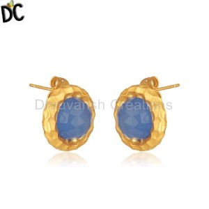 Handmade Gold Plated Brass Fashion Round Blue Chalcedony Stud Earrings