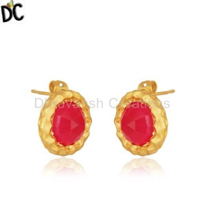 Round Pink Chalcedony Gemstone Gold Plated Brass Fashion Stud Earrings