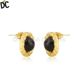 Black Onyx Gemstone Gold Plated Brass Fashion Round Stud Earrings