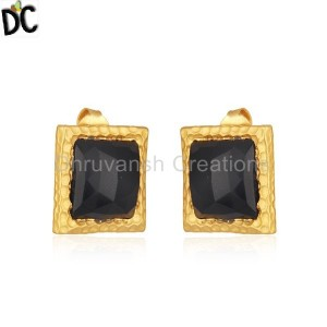 Black Onyx Gemstone Gold Plated 925 Silver Square Girls Stud Earrings