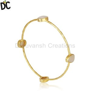 Mother of Pearl Gold Plated Brass Fashion Stackable Bangle Wholesaler