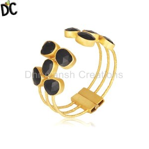 Designer Black Onyx Gemstone Gold Plated Brass Openable Cuff Bangle