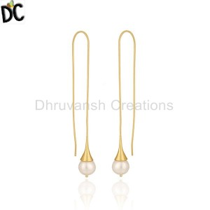 Handmade Gold Plated Brass Fashion Pearl Dangle Earring Manufacturer