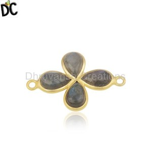 Labradorite Gemstone Gold Plated Brass Fashion Connector Wholesale