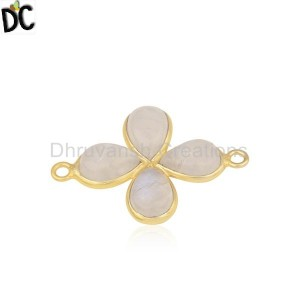 Rainbow Moonstone Gold Plated Brass Fashion Connector Findings Jewelry
