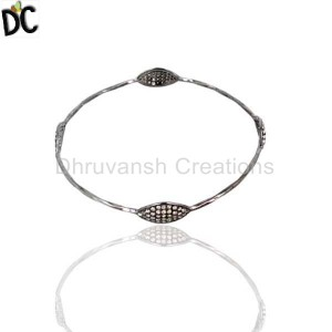 925 Sterling Silver Gold,Black Diamond Bracelet Manufacturer from India