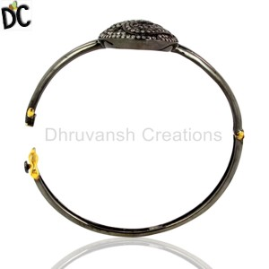 925 Sterling Silver Gold,Black Diamond Bracelet Wholesale from India