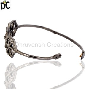 925 Sterling Silver Gold,Black Diamond Bracelet Supplier from India