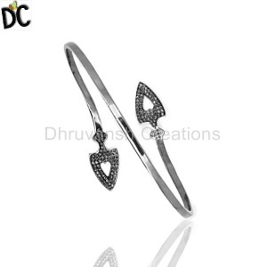 925 Sterling Silver Black Diamond Bracelet Manufacturer from India