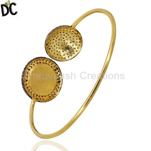 925 Sterling Silver Gold,Black Diamond Bracelet Suppliers from India